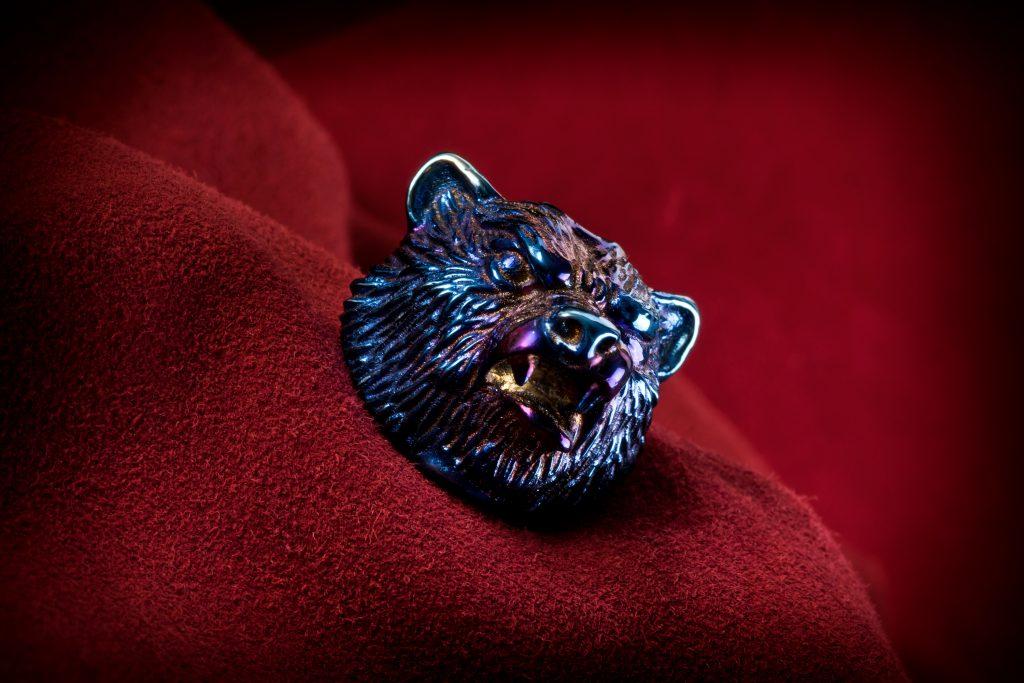 Oxidized Titanium Bear Head