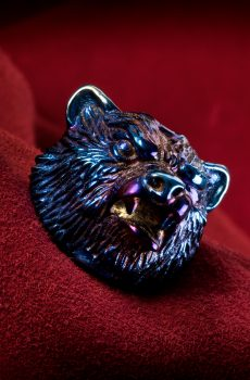 Oxidized Titanium Bear Head